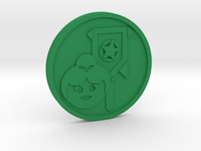 Page of Pentacles Coin in Green Processed Versatile Plastic