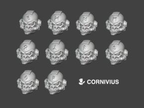 10x Multi Runes - G:9 Dire Wolf Helms in Smooth Fine Detail Plastic