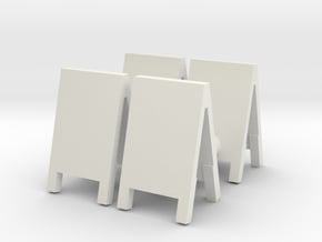Advertising Board (x4) 1/64 in White Natural Versatile Plastic