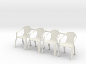 Plastic Chair 01 . 1:35 Scale in White Natural Versatile Plastic