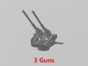 12.8 cm Twin Flak 40 (x3) 1/285 in Smooth Fine Detail Plastic