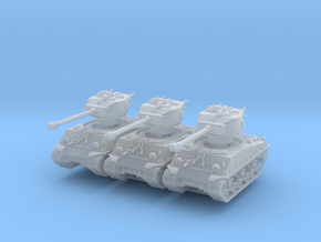 M4A3E8 Sherman 76mm (x3) 1/285 in Smooth Fine Detail Plastic