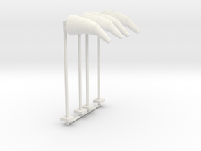Airport Windsock and Pole (x4) 1/120 in White Natural Versatile Plastic