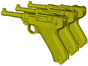 1/12 scale Luger P-08 Parabellum 1908 pistols x 3 in Smooth Fine Detail Plastic