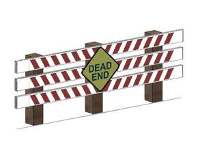 Dead End Barrier in White Natural Versatile Plastic: 1:87 - HO