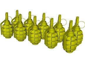 1/12 scale F-1 Soviet hand grenades x 10 in Smooth Fine Detail Plastic