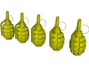 1/12 scale F-1 Soviet hand grenades x 5 in Smooth Fine Detail Plastic