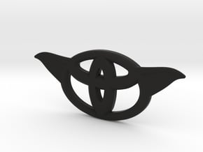 Toyota steering wheel emblem overlay ToYoda in Black Premium Versatile Plastic