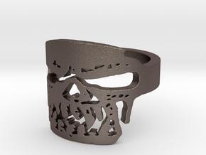 Fallen Angel Biker Skull v2 Ring Size 9 in Polished Bronzed Silver Steel