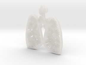 Lungs and Roses Pendant (w4) Cystic Fibrosis CF in Smooth Fine Detail Plastic