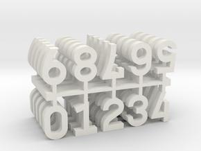 9mm Numerals x50 in White Natural Versatile Plastic