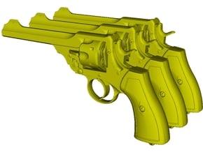 1/12 scale Webley & Scott Mk VI revolvers x 3 in Smooth Fine Detail Plastic