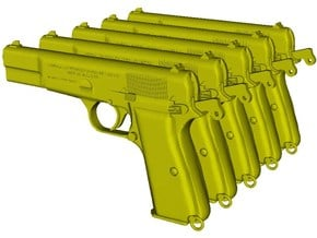 1/12 scale FN Browning Hi Power Mk I pistols A x 5 in Smooth Fine Detail Plastic