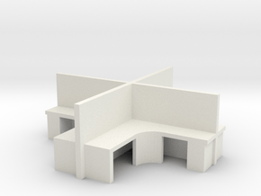 2x2 Office Cubicle 1/87 in White Natural Versatile Plastic