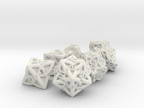 Celtic 7 Dice Set - Solid Centre for Plastic in White Natural Versatile Plastic