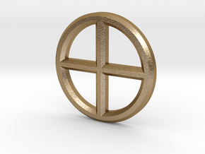 Circle Cross Pendant in Polished Gold Steel