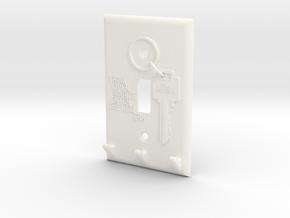 Light Switch Key Hanger in White Processed Versatile Plastic