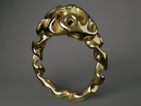 """Ring """"Reaction Diffusion"""", Size 54 in Polished Brass"""