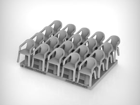 Plastic Chair 01 . 1:72 Scale in Smooth Fine Detail Plastic