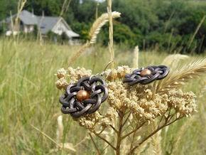Woven Starburst Earrings - Small in Polished Bronze Steel