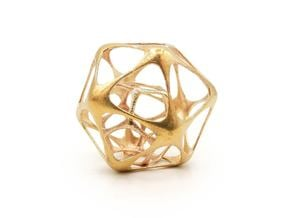 Icosahedron-dodecahedron Pendant - Yin in Natural Brass (Interlocking Parts)
