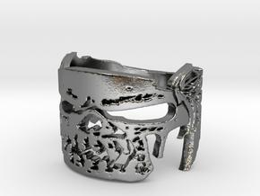 Skull Winged Biker v1 Ring Size 14 in Polished Silver
