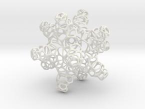 3D Snowflake in White Natural Versatile Plastic