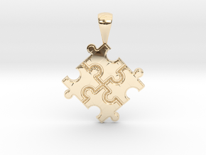 Autism puzzle in 14K Yellow Gold: Small