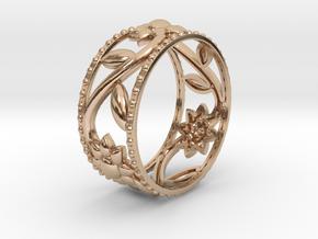 Flower Ring in 14k Rose Gold Plated Brass: 6 / 51.5