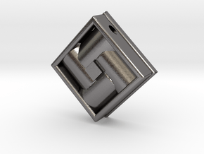 Square Weave Pendant with 3mm Silde Necklace Hole in Polished Nickel Steel