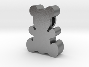 Teddy Bear Pendant in Natural Silver