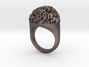Brain Ring US13  in Polished Bronzed-Silver Steel