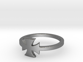 Outlaw Biker Iron Cross (small) Ring Size 12 in Polished Silver