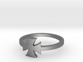 Outlaw Biker Iron Cross (small) Ring Size 11 in Polished Silver