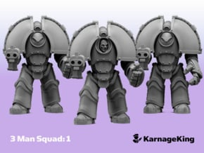 3x ST:1 Invader Squad:1 - Base in Smooth Fine Detail Plastic