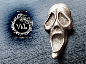 SCARY Movie Pendant ⛧ VIL ⛧ in Polished Bronzed-Silver Steel: Small
