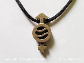 Third Option Designer Pendant in Polished Bronzed-Silver Steel