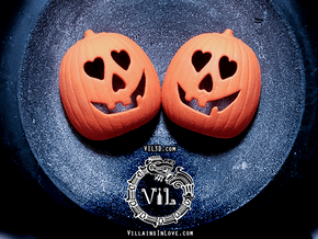 Halloween HEART Pumpkin Pendant ⛧VIL⛧ in Orange Processed Versatile Plastic