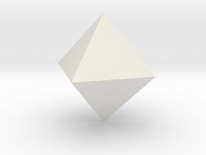 Octahedron 10mm in White Natural Versatile Plastic