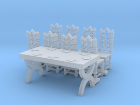 HO Scale Table and Place Settings in Smooth Fine Detail Plastic