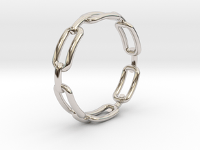 Chain Link Ring in Rhodium Plated Brass: 4 / 46.5