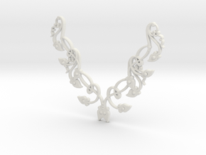 Floral Pendant in White Natural Versatile Plastic