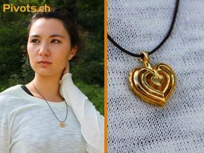 Heart Pendant 'Mylène' in Polished Brass