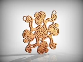 Swirl Pendant in Natural Brass