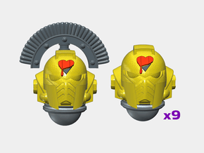 10x Lamented Heart - G:10 Prime Helms : Squad 1 in Smooth Fine Detail Plastic