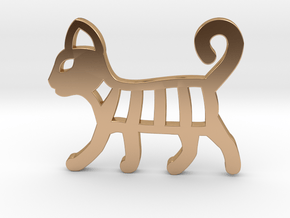 Cat Necklace in Polished Bronze