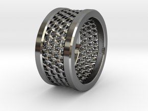 Tri Mesh in Fine Detail Polished Silver: 10 / 61.5