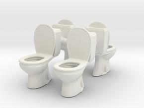 Toilet WC (x4) 1/43 in White Natural Versatile Plastic