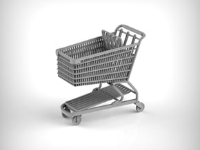 Shopping cart in 1:18 scale. in Gray PA12