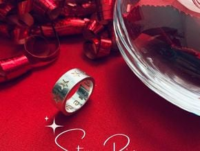 """Star / """"Never Give Up"""" Ring in Polished Silver: 6.5 / 52.75"""